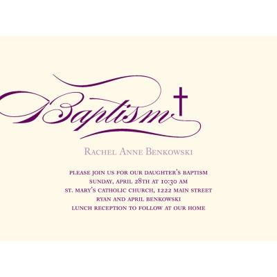 Elegant Baptism Invitations -- Flowing Script