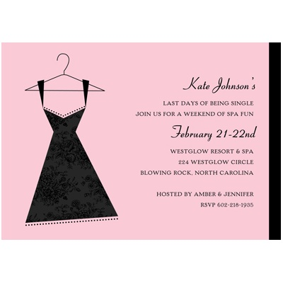 Bachelorette Party Invitation -- Little Black Dress