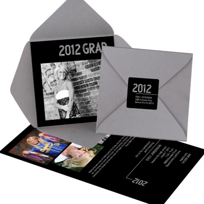 Photo Graduation Pocket Invitation -- Striped Success