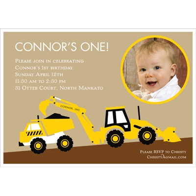 We have the perfect kids birthday invitation ideas! #construction #peartreegreetings #birthday