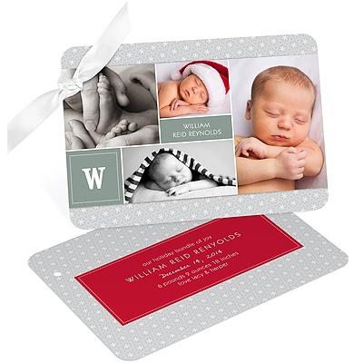 Holiday Photo Birth Announcements -- Monogram Blocks and Dots