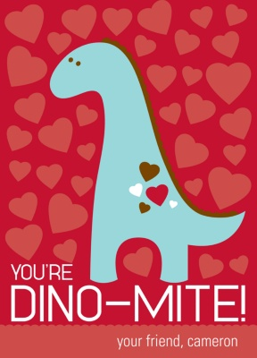 Kid's Valentine's Day Card -- Dino-Mite