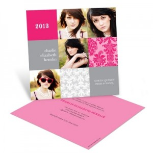 Photo Graduation Party Invitations -- Damask Blocks