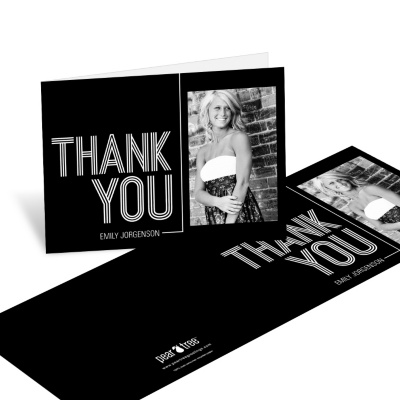 Photo Thank You Card Horizontal -- Striped Success