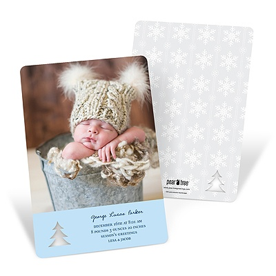 Christmas Photo Birth Announcements -- Die-cut Dimensions