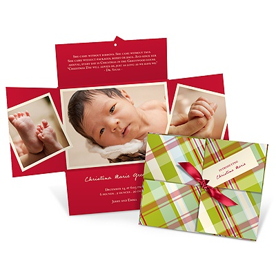 Birth Announcement Christmas Cards -- Wrapped Collage in Plaid