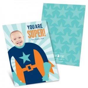 Kids Photo Valentine Cards -- Starry Super Hero