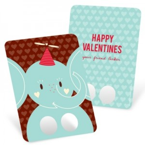 Kids Valentines Day Cards -- Elephant Finger Puppet