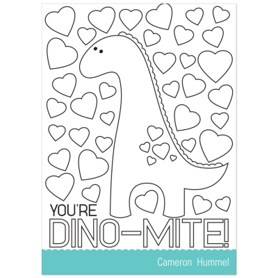 Colorable Valentine Cards -- Dinosaur Fever