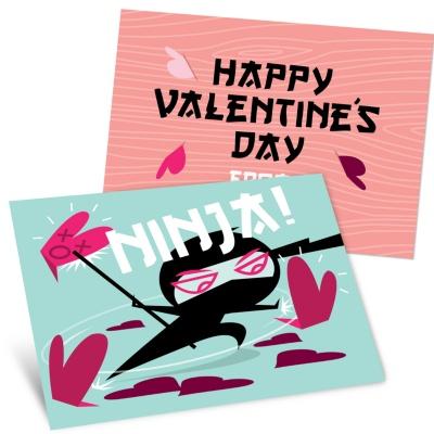 Kids Valentine's Day Cards -- Ninja Action in Blue