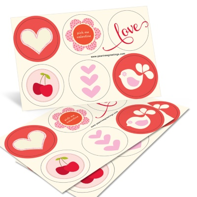 Valentine Stickers -- Vintage Icons