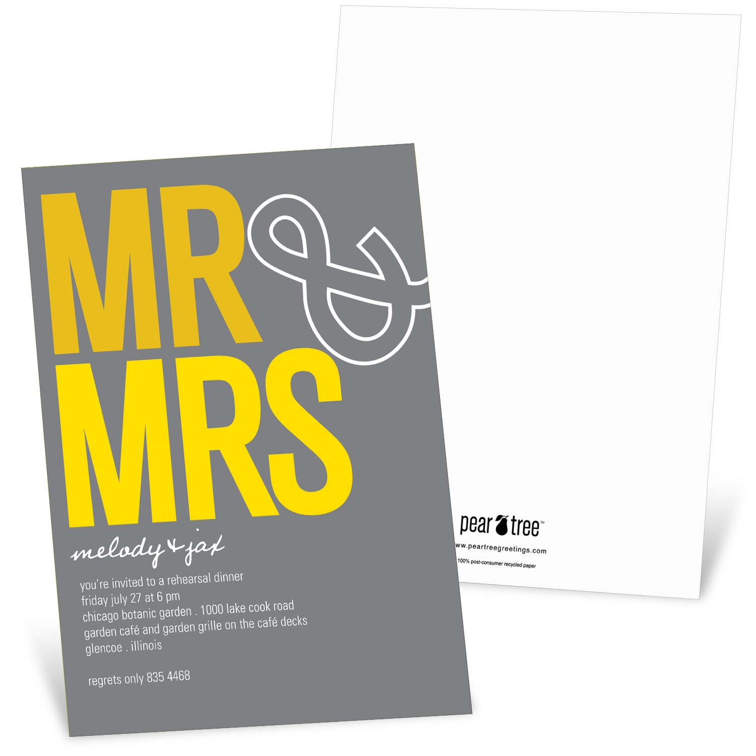 "Casual Rehearsal Dinner Invitations -- ""To the Mr. & Mrs."""