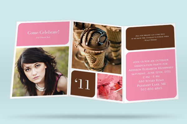 Tri fold Graduation Announcements -- Favorite Moments Remembered