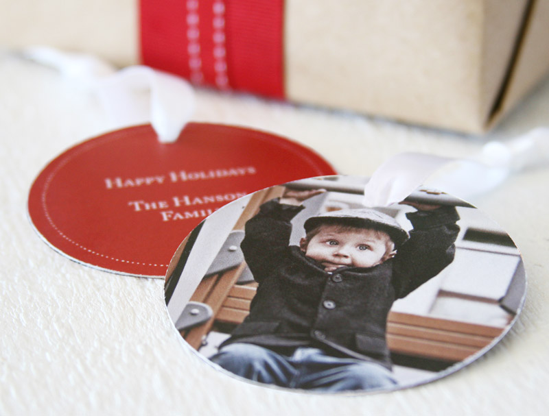 Gift wrapping ideas using personalized gift tags #peartreegreetings #holidays #gifttags