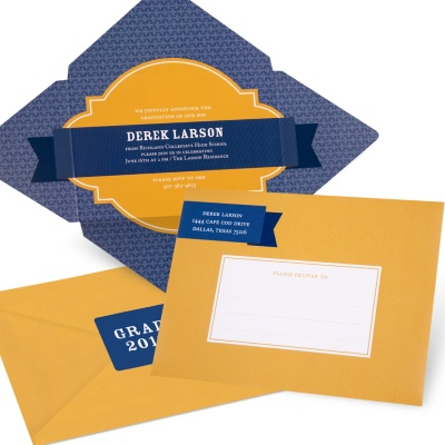 Graduation Invitation -- Diamond in the Rough Folded Self Mailer