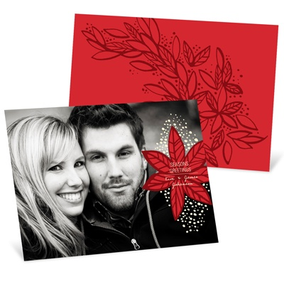 Fresh Poinsettia Horizontal Photo Christmas Cards