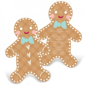 Kids Christmas Party Invitations -- Gleeful Gingerbread
