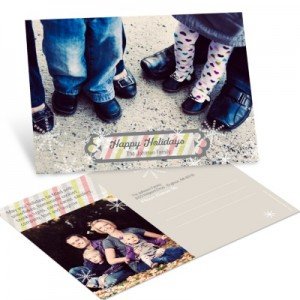 Photo Christmas Cards -- Stripes and Snowflakes Horizontal Photo