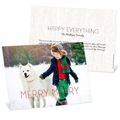 Merry Merry Horizontal Photo Christmas Cards