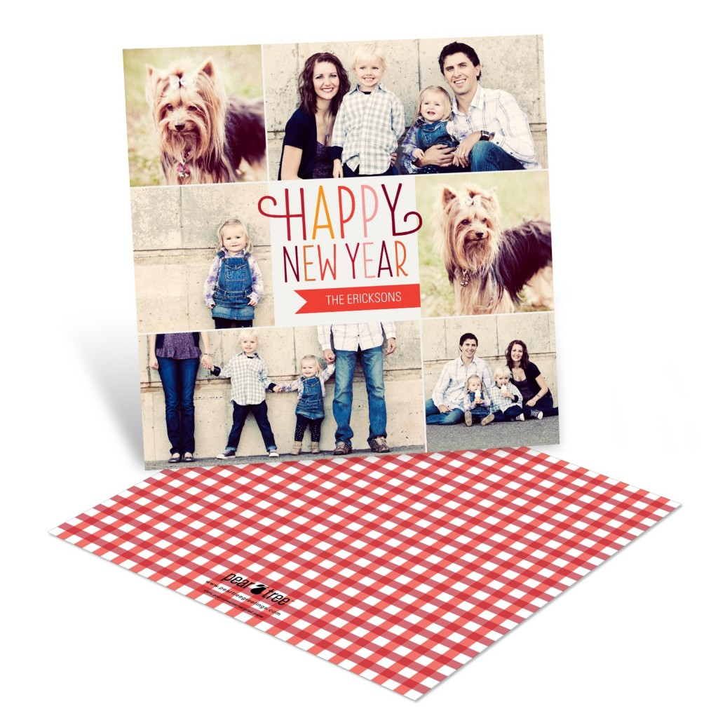 Photo New Years Cards -- Checkered Cheer
