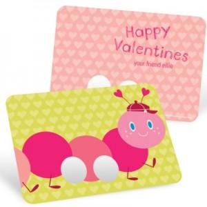 Valentine Kids Cards -- Caterpillar Finger Puppet