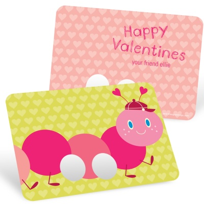 Valentine Kids Cards -- Caterpillar Finger Puppet