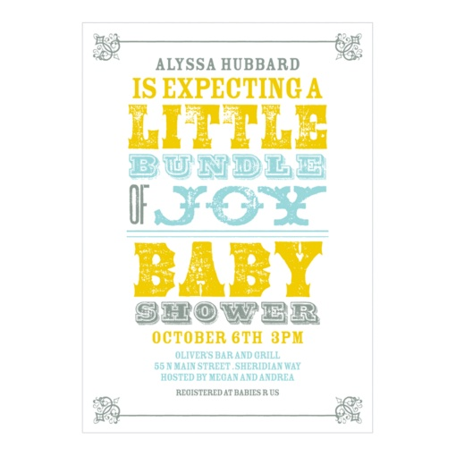 Vintage Baby Shower Invitations -- Personalized Poster