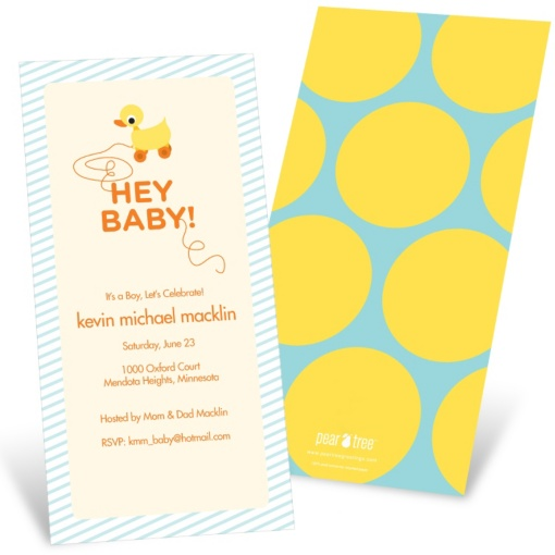 Rubber Ducky Baby Shower Invitations -- Retro Rubber Duck Toy