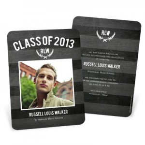 Graduation Announcements & Invitations -- Chalk Monogram