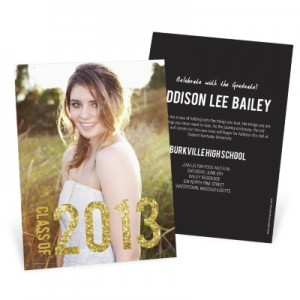 Graduation Announcements -- Glam Grad Vertical Photo