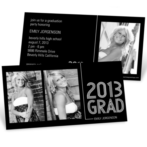 Photo Graduation Invitation Horizontal -- Striped Success