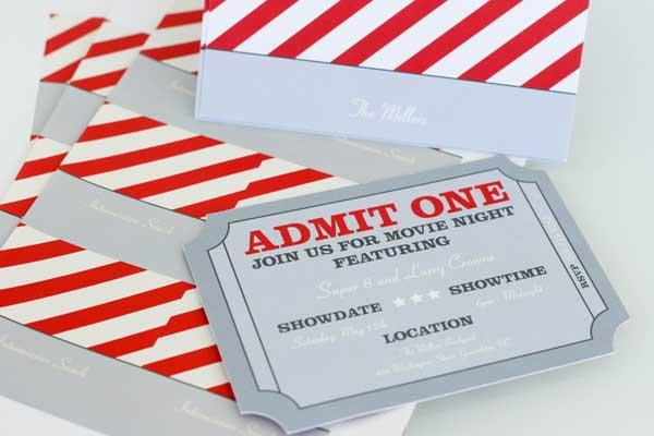 Movie Night Invitations -- Admit One