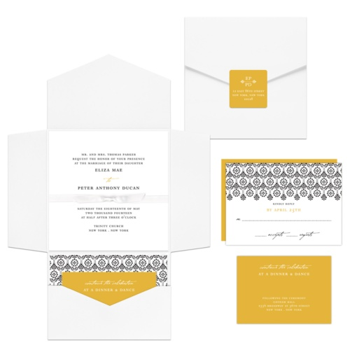 Pocket Wedding Invitations -- Ribbon Seal Ensemble