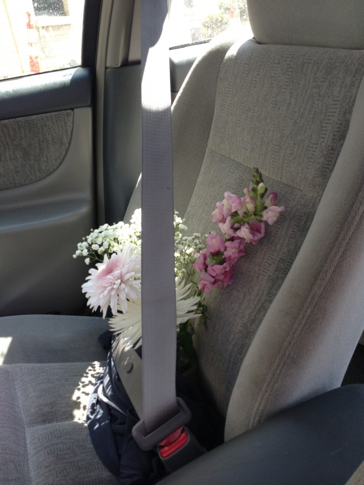 The flowers made it safely!