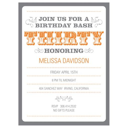 30th Birthday Party Invitations -- The Big 3-0