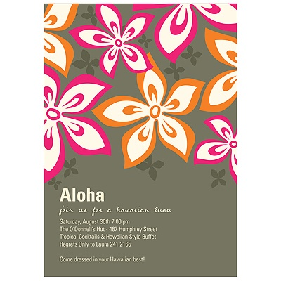 Pink Luau Party Invitations -- Hibiscus Fun