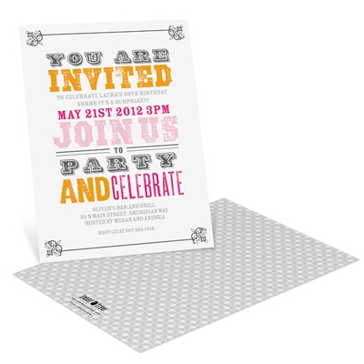 Vintage Birthday Invitations -- Stamped Fonts
