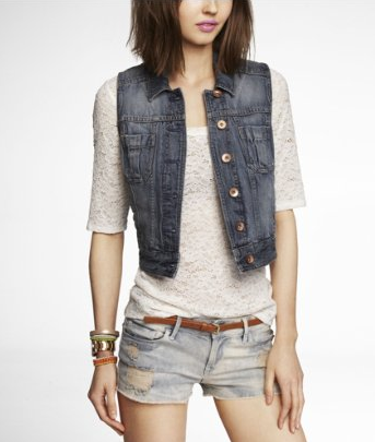 PATCH POCKET FADED DENIM VEST