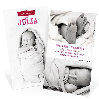 Picture Baby Announcements -- Welcome Baby Girl
