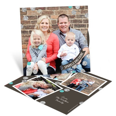 Glitter Confetti Spinner Holiday Photo Cards
