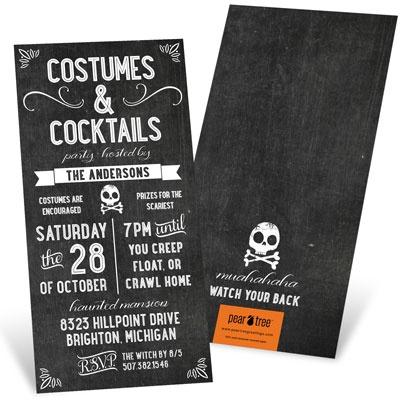 Chalk Art Halloween Invitations