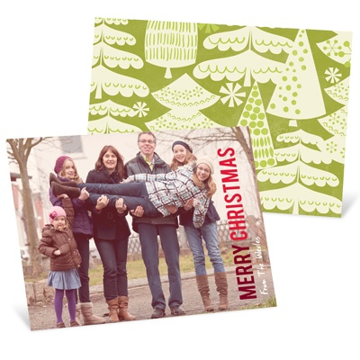 Merry Treescape Horizontal Photo Christmas Cards