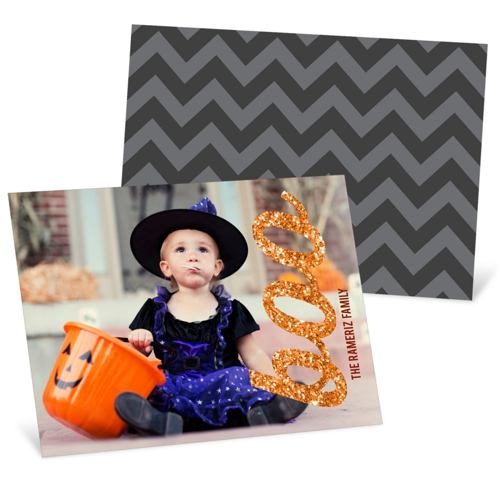 Glittery Boo Horizontal Halloween Photo Cards