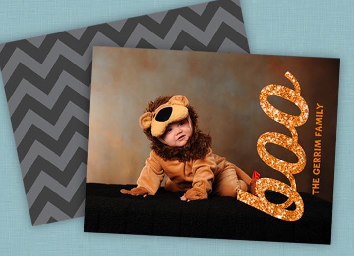 Glittery Boo Horizontal Halloween Photo Cards