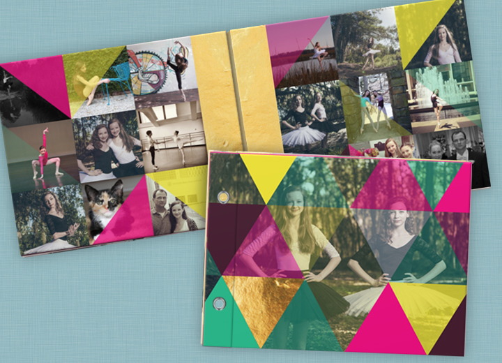 Colorful Kaleidoscope Photo Book Christmas Cards