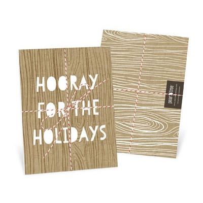 Kraft Paper Trio Tied with Twine Photo Christmas Cards