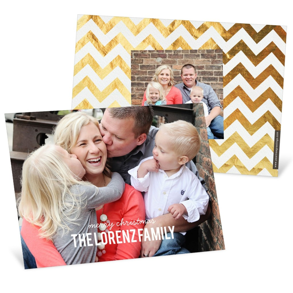 Gold Chevron Christmas Cards