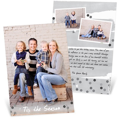 Silver Sequins Vertical Photo Christmas Cards