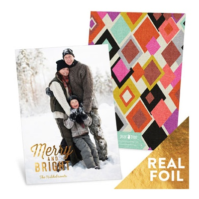Merry & Bright Gold Foil Christmas Cards