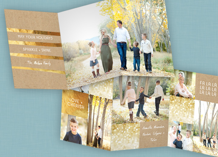 Featured Favorite - Golden Greeting Tri Fold Christmas Cards #peartreegreetings
